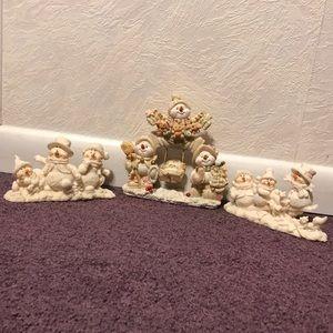 Vintage snowman Christmas decorations set 3 resin